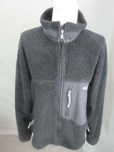 Patagonia Size M Mens Black Athletic Full Zip w/Pocket Sherpa Fleece Jacket T708