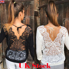 UK Fashion Womens Ladies Back Lace Pullover Long Sleeve Shirt Loose Blouse Tops