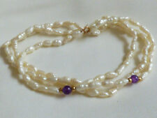 "Amethyst Beads strand spring clasp bracelet 7""L 14k Y Gold White Rice Pearl &"