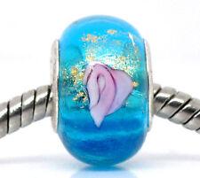 10 Perles Lampwork Verre Fleuri pour Bracelet Charms