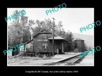 OLD LARGE HISTORIC PHOTO OF CRAIGELLACHIE BC CANADA, THE RAILWAY STATION c1930