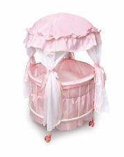 Badger Basket Royal Pavilion Round Doll Crib with Canopy and Bedding (fits