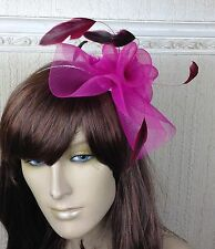 hot dark pink crin fascinator headband headpiece wedding party race ascot bridal
