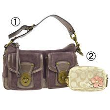 Autoriz. Bolsa de Mão Coach logotipos Signature Bolsa 2 Conjunto De Lona De Camurça Bege Roxo V31168