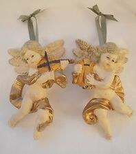 Vintage Plastic Mold Blown Hand Painted Angels Cherubs Baroque Style