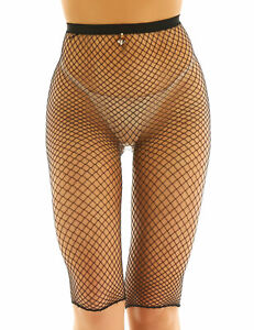 Sexy Women Mesh Fishnet See Through High Waisted Leggings Short Half Pants Club