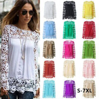 Fashion Women Hollow-out Long Sleeve Lace Tops Blouse Casual T-Shirt S-7XL