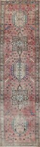 Antique Geometric Traditional Oriental Runner Rug Wool Hand-knotted Carpet 3x13