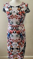 Betty Barclay White Floral Fitted Size 10-12 BodyCon Wedding Guest Night Holiday