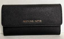 Michael Kors Jet Set Travel Large Trifold Wallet Leather Black With Silver