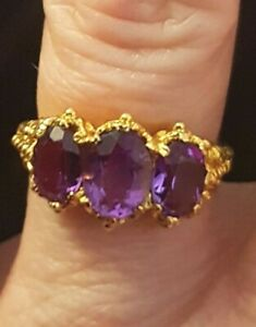UK Sizes O /& P 2.36ct Brazilian Amethyst Ring in 925 Sterling Silver