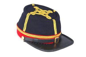 Civil War Union Artillery Major/Colonel Leather Peak Kepi, Navy/Red Band 3 rows