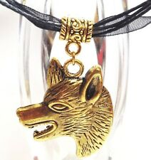 WOLF Antiqued Gold_Pendant on Black Ribbon Necklace_Coyote Dog Wild Fangs_301N