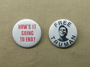 """Free Truman & How's It Going To End? 1.25"""" Button Magnet Truman Show Carrey TV"""