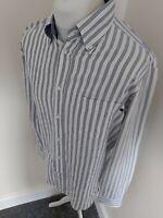 Mens Zegna Sport Long Sleeve Shirt Large White Blue stripe 46 Chest