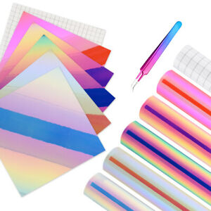 "5 Pcs Holographic Opal Permanent Self Adhesive Backed 12"" x 12"" Vinyl Sheets Kit"