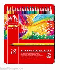 CARAN D'ACHE SUPRACOLOR SOFT TIN of 18 water soluble soft colour pencils