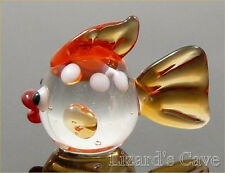 Fish Round bodied Miniature Glass figurine Clear/Amber approx 1 inch long