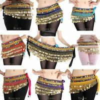 Belly Dance Hip Scarf Skirt Wrap Gold Coins Band Gemstone Belt Velvet Skirt