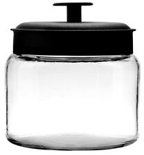 Anchor Hocking Clear Glass Montana Spice Storage Jar With Black Lid 1.5l