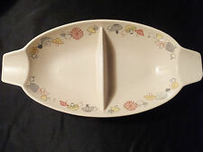 Franciscan Merry Mushroom Woodlore 2 Serving Pcs Oval Relishes Divided Bowl