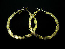 "A PAIR OF GOLD COLOUR  30MM 3CM 1""  PATTERN  HOOP  EARRINGS. NEW."