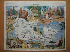 1948 - PINCHON - Illustrated historical map CANADA Cartier Champlain Montcalm