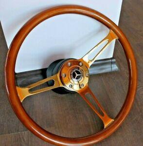 Steering Wheel Mercedes Benz Wood Golden W123 W124 W126 W201 R107 1979-1992