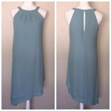 White House Black Market Turquoise Shift Dress Sz 2 /4 Asymmetric Hem Blue Green