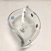 Millefiori Art Glass Hans Blown Candy Dish Clear Glass Murano?