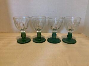 Rare set of 4  Sherbet Goblet Bicolor w Green Foot, Vintage Depression Glass