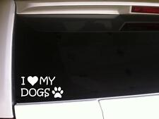 "I Heart My Dogs Paw Print Vinyl Car Decal Sticker 6"" I24 Pets Animals Love Gift"