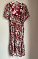 RED WHITE MAXI DRESS FLORAL NEW S LONG TOWIE HOLIDAY SASSY PRETTY GLAM FLOATY