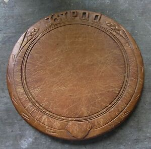 Antique Wooden Bread Cutting Board w/ Hand Carved Sheaf of Wheat Decoration