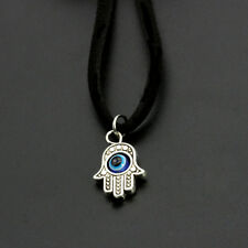 Vogue Unisex Silver Fatima Hand With Evil Eye Pendant Choker Short Necklace 1Pc