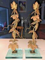 """Pair of Vintage Gold Metal Leaf & Glass Base Candlesticks~Signed~19.5"""""""