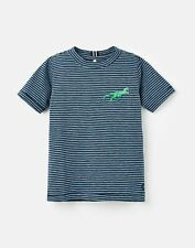 Joules Boys Island Embroidered T-Shirt  - Blue Stripe Dino - 5Yr