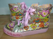 LELLI KELLY Pink UK 2 Hi Top Ankle Boots EU 34 Hearts Laces Sequins Glitter