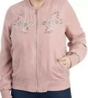 ODYN *Junior's Size Large* Pink Bomber Jacket, Lined w/ Floral Embroidery, Boho