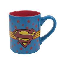 SUPERMAN DC Comics 14 oz Red Inside Coffee Cup Mug Blue Stars Free Shipping