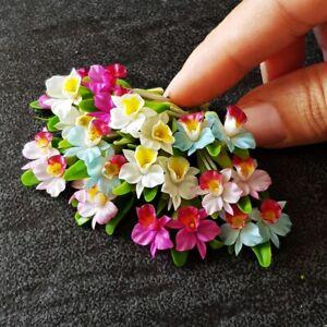Dollhouse Miniatures Clay Flowers Mini Orchid Cattleya Fairy Garden Supply Decor