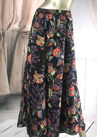 Vintage Simple Floral Rayon Flare Summer MIDI Maxi Skirt Size 16