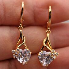 18K Yellow Gold Filled - 1.3'' Heart Clover Topaz Zircon Wedding Earrings Gift