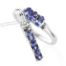 Premium AAA Tanzanite, Cambodian Zircon Platinum over SS ring 6