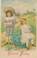 VALENTINE'S DAY – Girl, Boy and Lots of Flowers Valentine Greeting - 1908