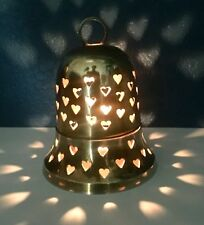 Vintage Collectable Solid Brass Bell Tea Light Heart Cut Outs Two Piece Threaded