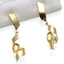 Vintage 14k oval yellow citrine swirl dangle earrings 2.5 ct Estate yellow gold