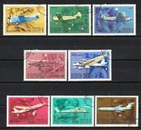 Aviones Rusia URSS (5) serie completo de 8 sellos matasellados