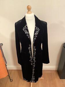 Laura Ashley Vintage Black Velvet Embroidered Sequined Coat Jacket UK Size 12