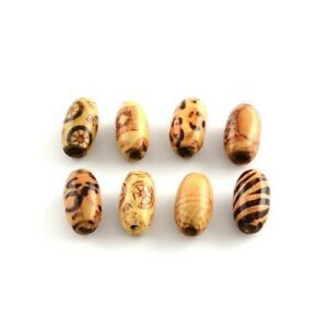 Brown/Mixed Wood Beads Oval 8 x 15mm Pack Of 50+